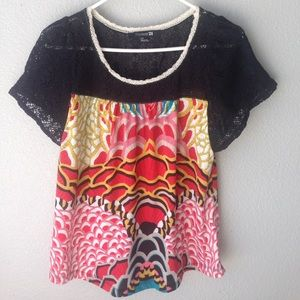 Forever 21 Geometric Colorful Blouse, Size S